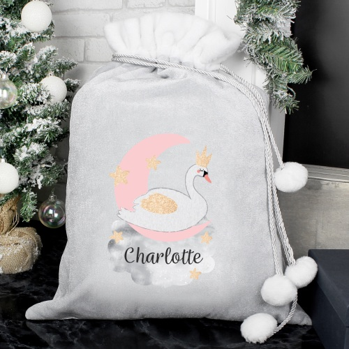 Elegant Swan Personalised Luxury Sack