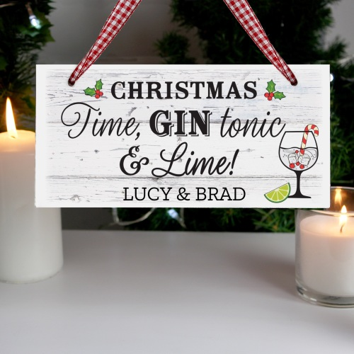 Gin Christmas Personalised Sign