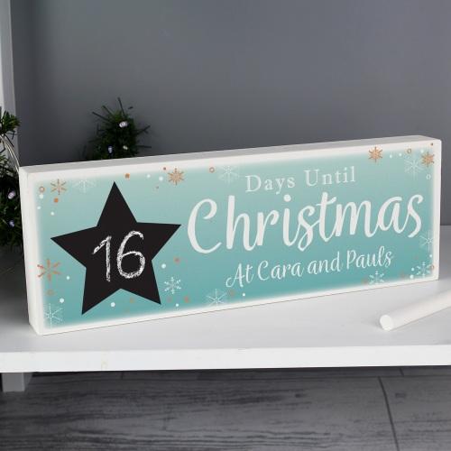 Christmas Countdown Wooden Personalised Block