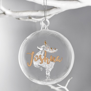 Gold Glitter Personalised Glass Reindeer Bauble