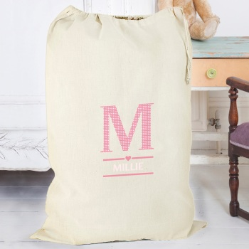 Pink Initial Personalised Cotton Sack