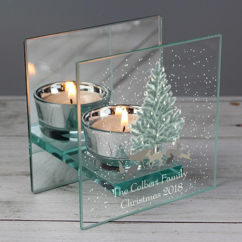 Winter Scene Mirrored Glass Personalised Tealight Holder