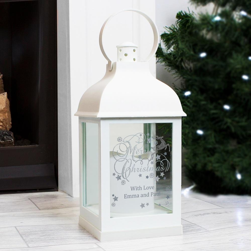Silver Reindeer Personalised Lantern