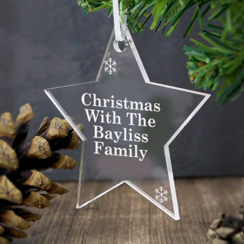 Personalised Acrylic Star Hanging Decoration