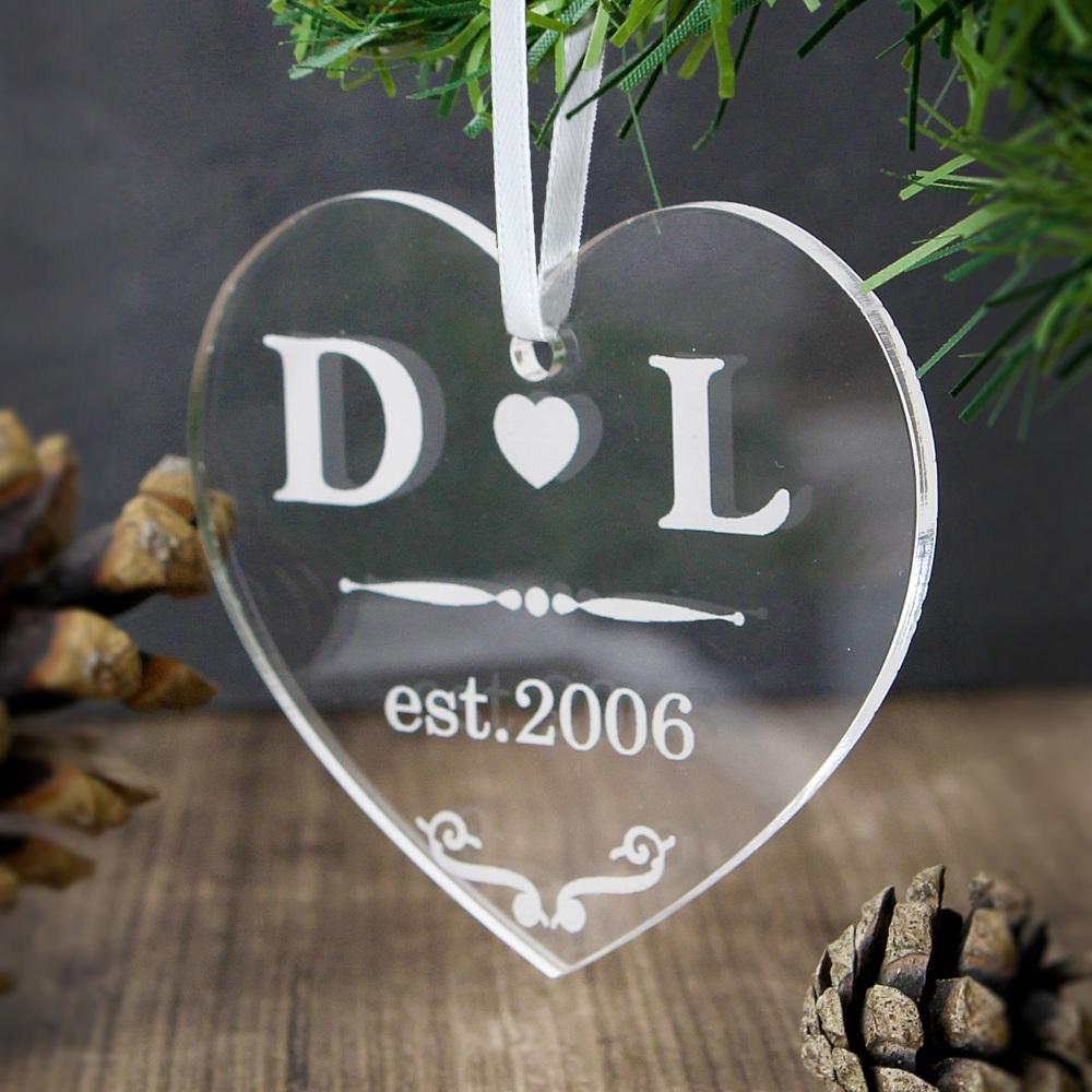 Personalised Acrylic Heart Hanging Decoration