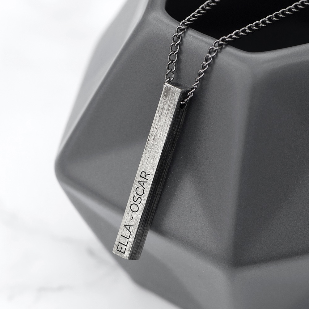 Mens Gunmetal Personalised Solid Bar Necklace