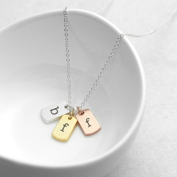 Mini Mixed Metal Tags Personalised Necklace