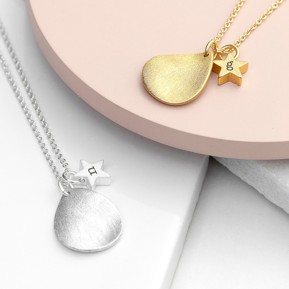 Gold/Silver Personalised Matte Drop Necklace
