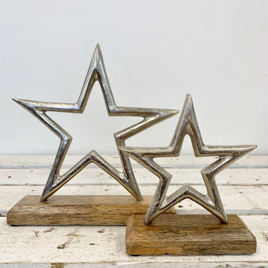 Silver & Wood Star Decoration