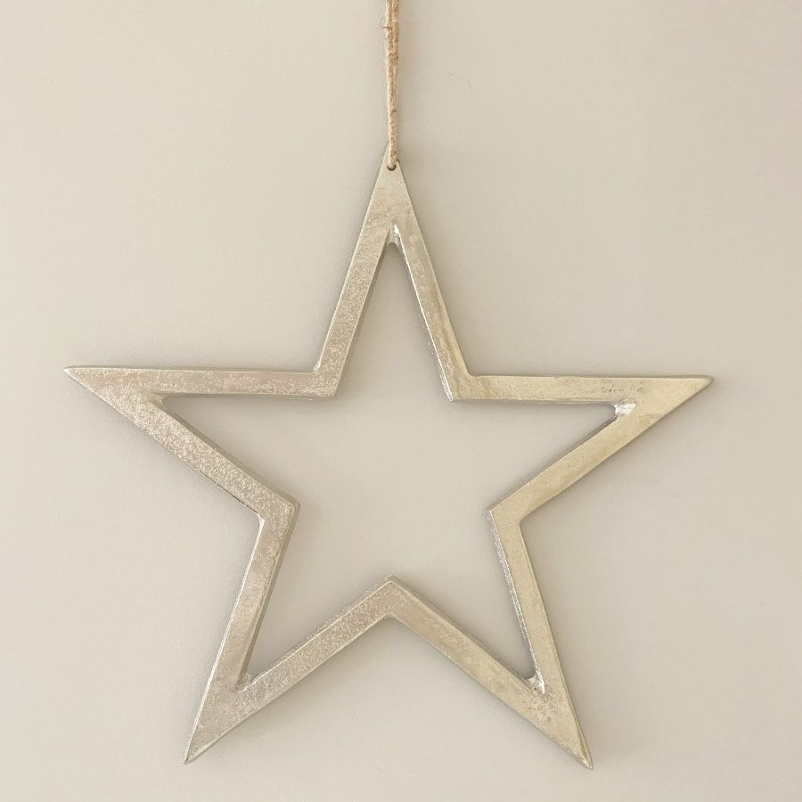 Silver Hanging Star Decoration