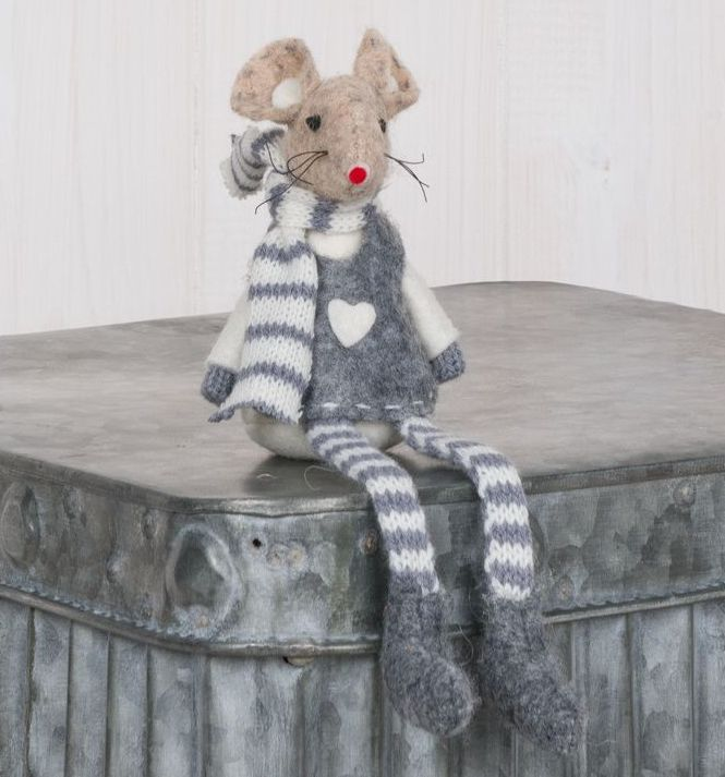 Mini Sitting Grey Fabric Mouse