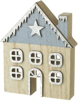 Festive Wooden House Standing Decoration
