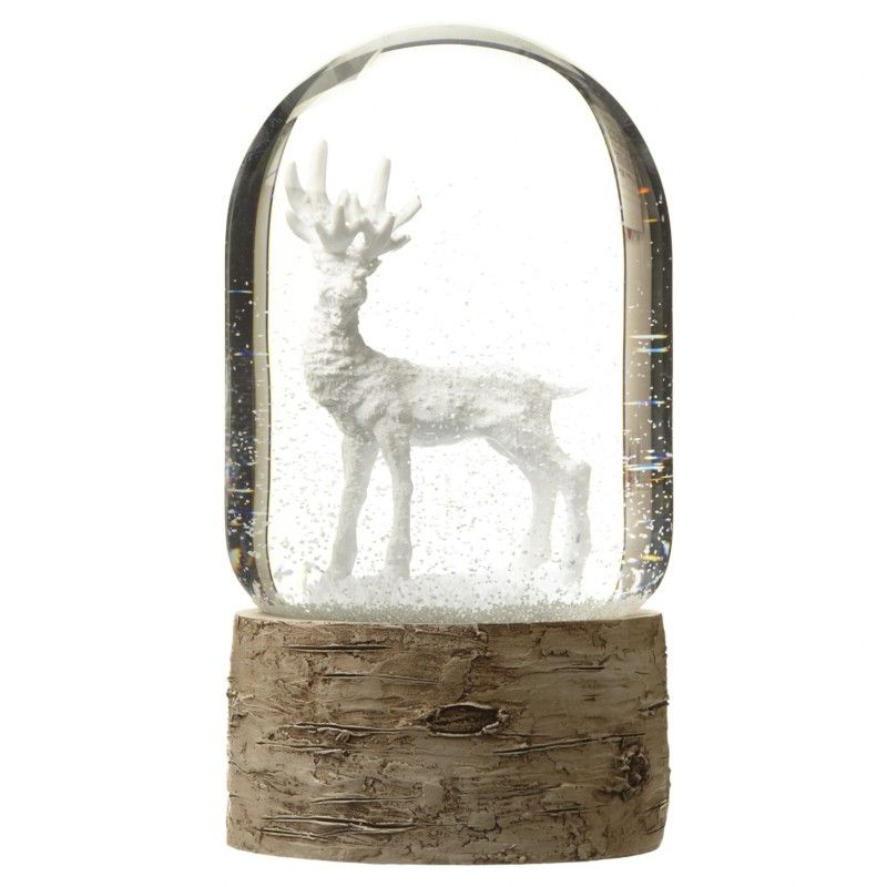 Single White Reindeer Snow Globe