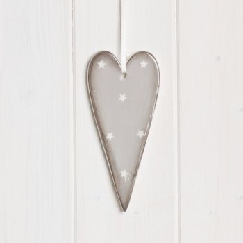 Large Hanging Ceramic Heart With Stars