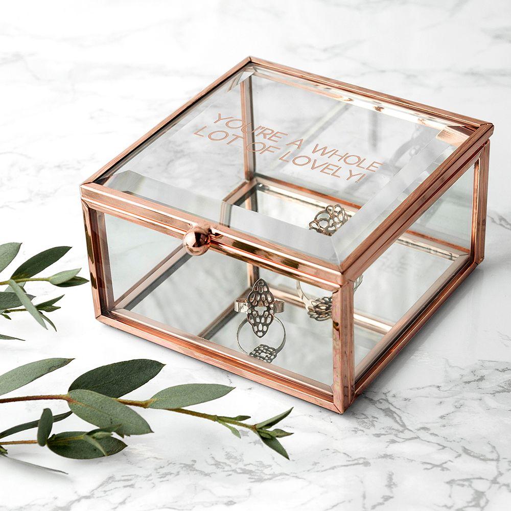 Rose Gold Personalised Mini Trinket Box
