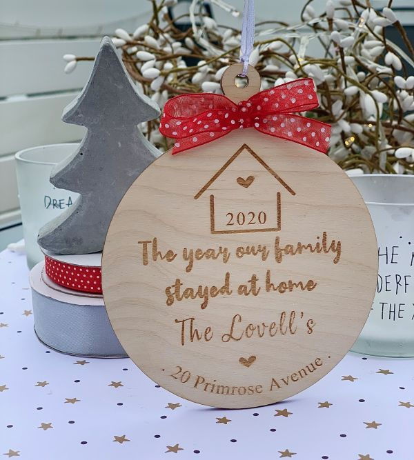 The Year We Stayed At Home Hanging Wooden Bauble