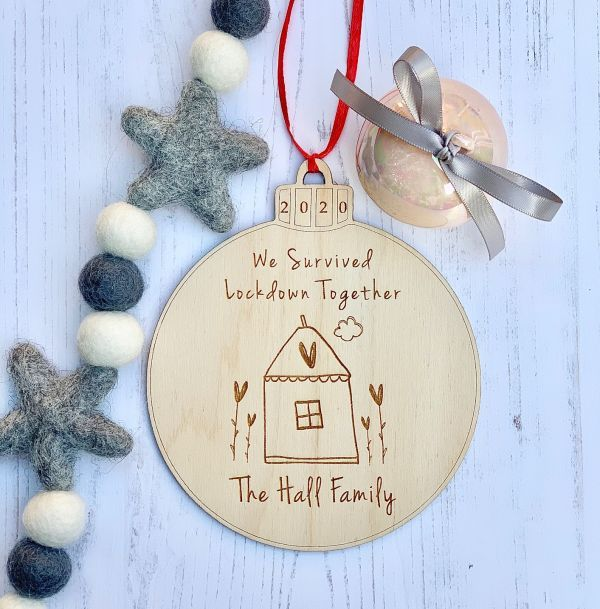 We Survived Lockdown Together Personalised Wooden Bauble