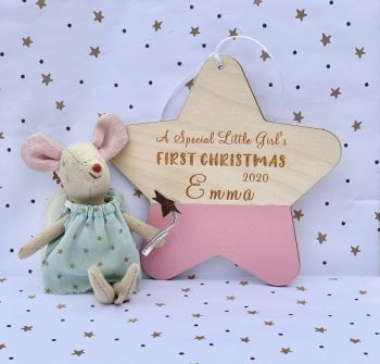Little Girls First Christmas Personalised Hanging Star