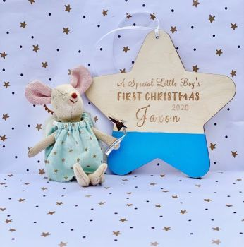 Little Boys First Christmas Personalised Hanging Star