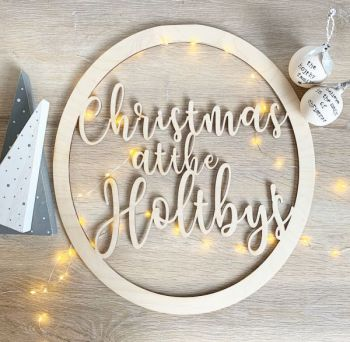 Christmas Wreath Garland Personalised Family Sign