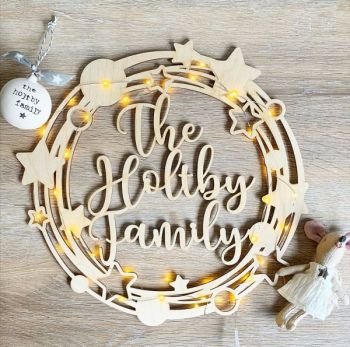 Star & Bauble Personalised Wooden Wreath