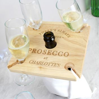 Time For Prosecco Bottle Butler and Flute Holder
