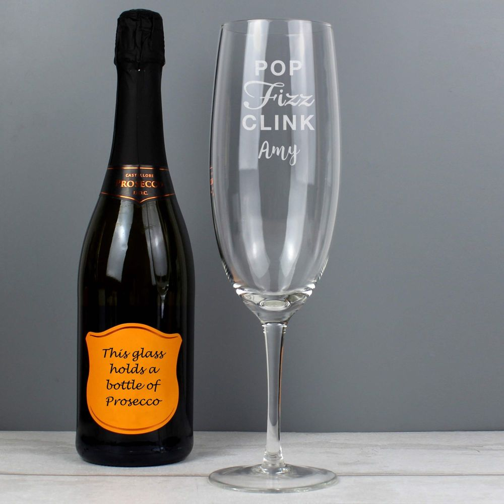 Bottle Of Prosecco Personalised Glass