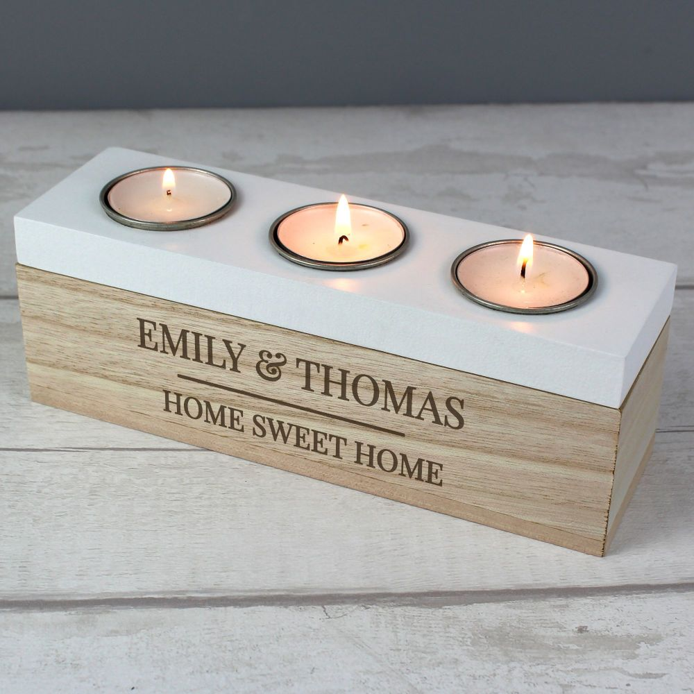 Natural Wood Personalised Triple Tea Light Box