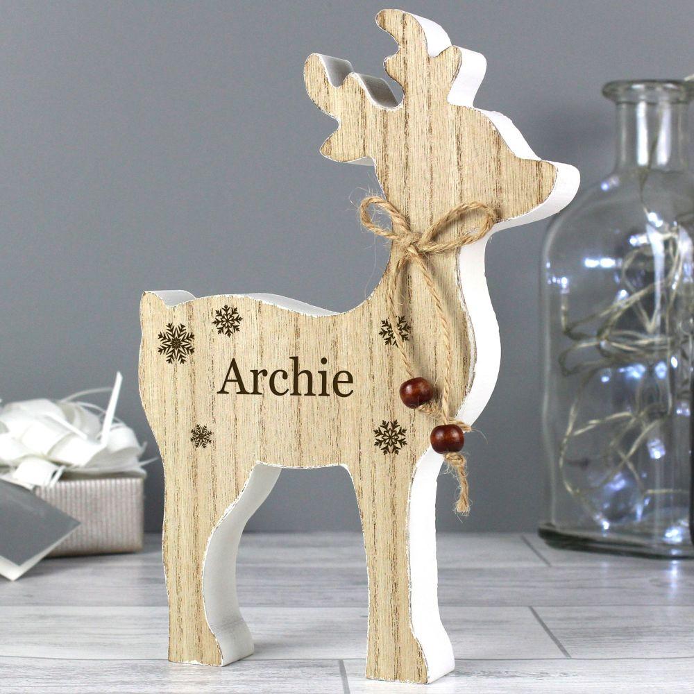 Rustic Personalised Reindeer Decoration