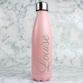 Pink Personalised Metal Insulated Bottle