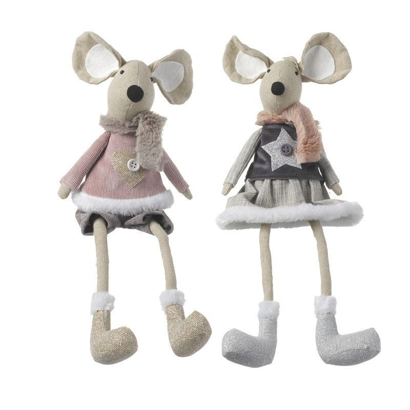 Fabric Sitting Mouse (PINK)