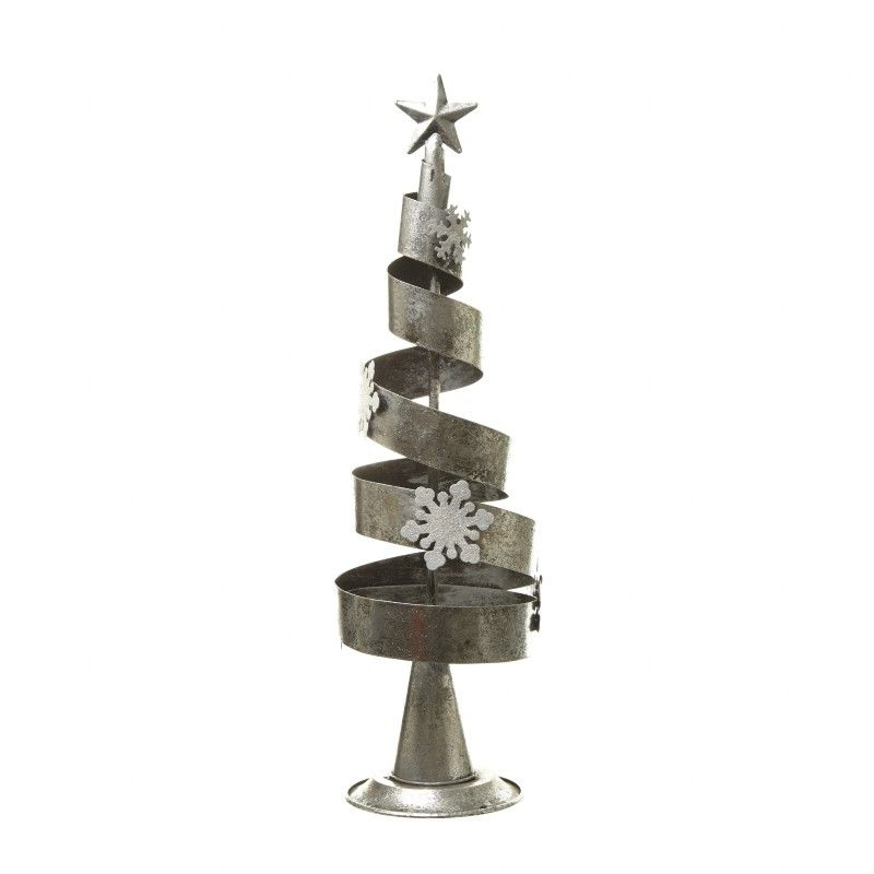 Silver & White Spiral Christmas Tree