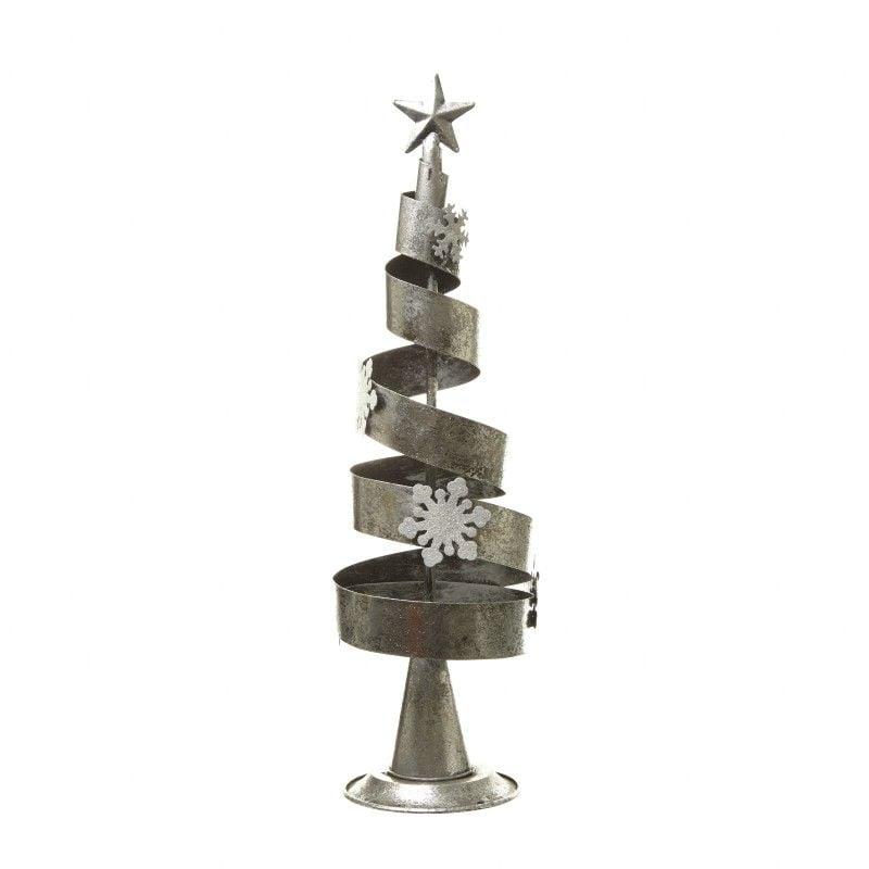 Silver & White Spiral Christmas Tree