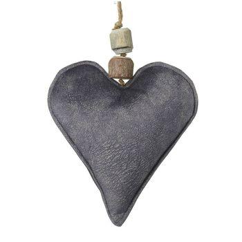 Grey Velvet Fabric Hanging Heart Decoration