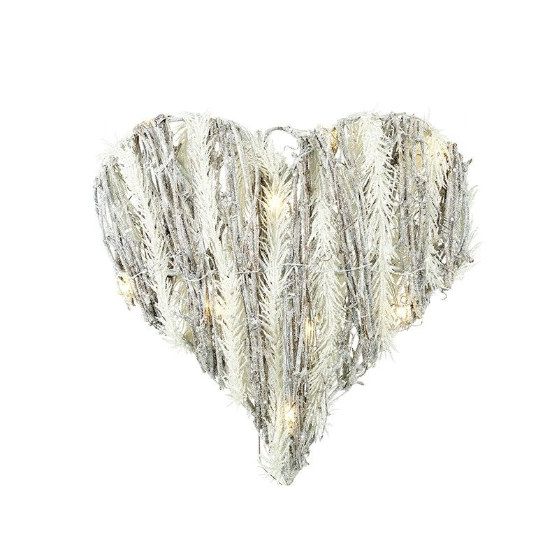 LED SILVER & WHITE TWIG HEART