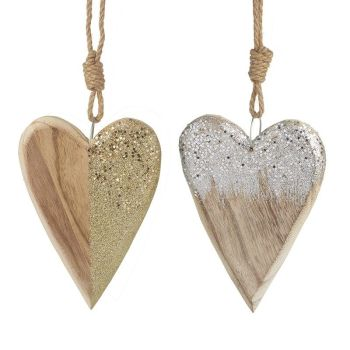 Wood/Glitter Mix Hanging Heart (SILVER)