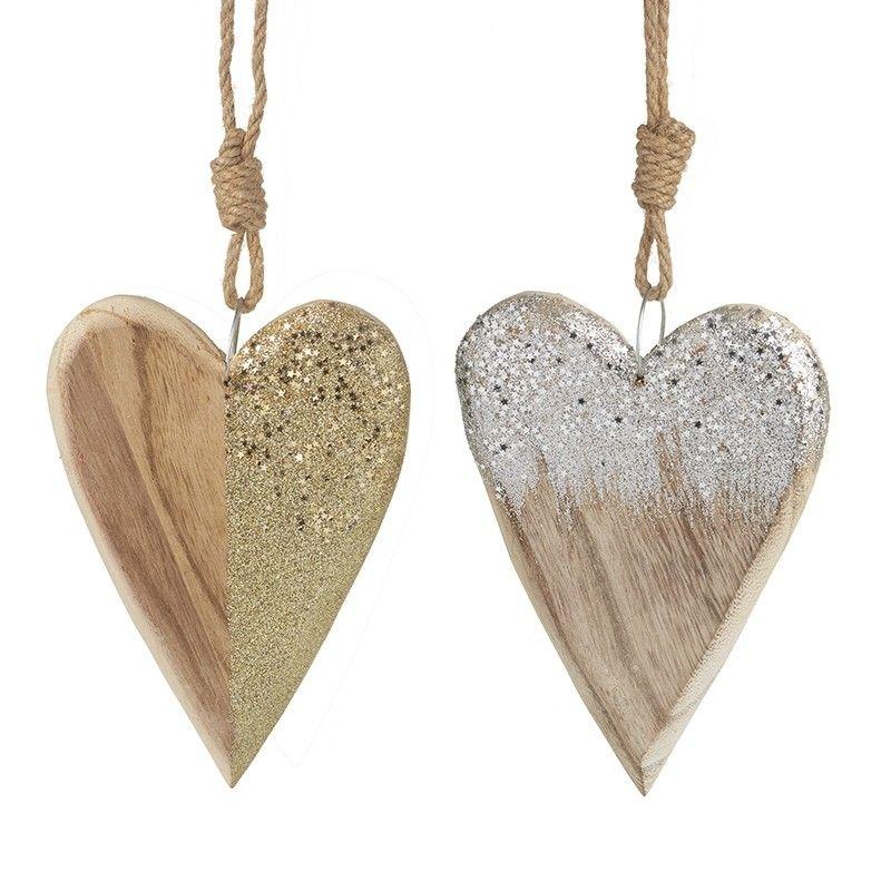 Wood/Glitter Mix Hanging Heart (SILVER)