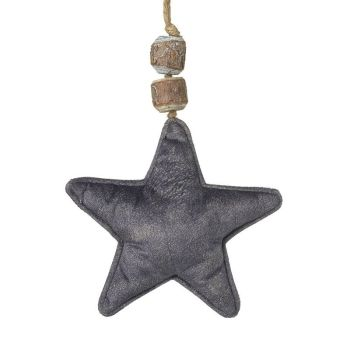 Grey Velvet Fabric Hanging Star Decoration