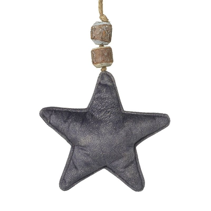 Grey Velvet Fabric Hanging Star Decoration