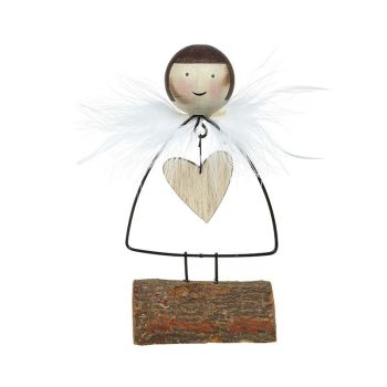 Wood/Metal Mix Standing Angel With Feather Wings