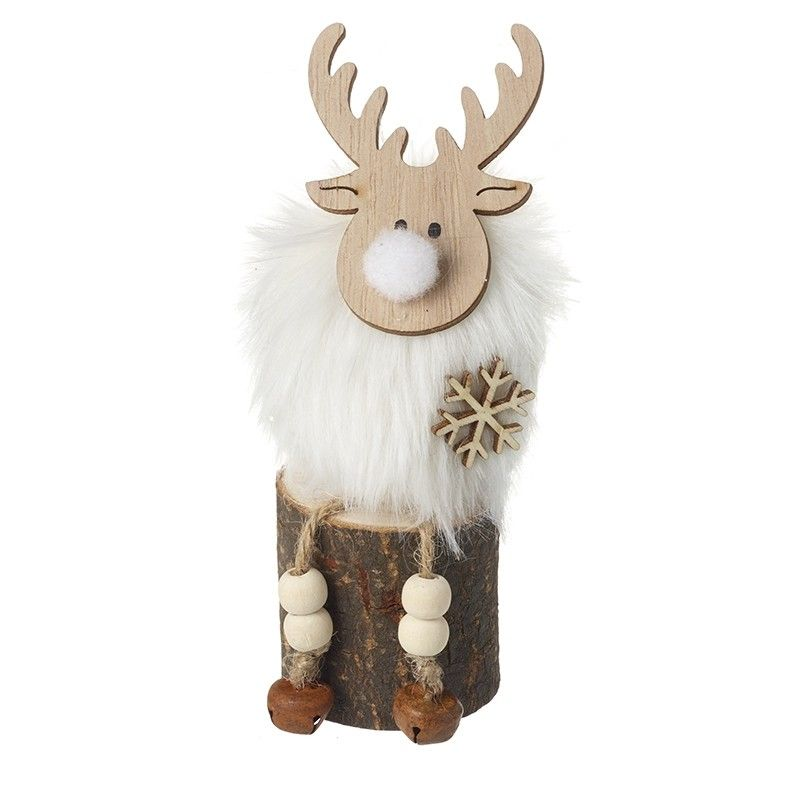 Sitting Reindeer On Log