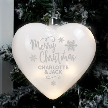 LED Merry Christmas Personalised Heart