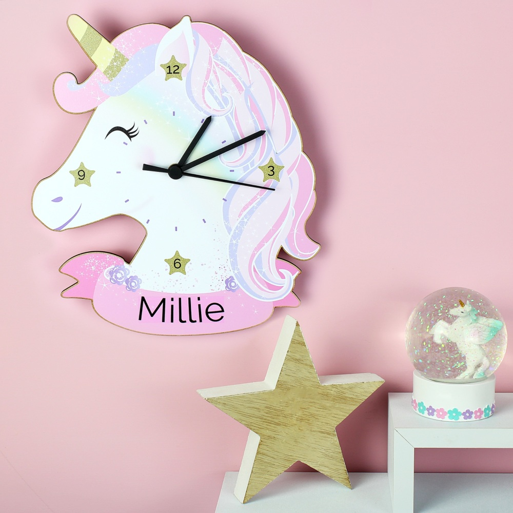 Wooden Personalised Unicorn Clock