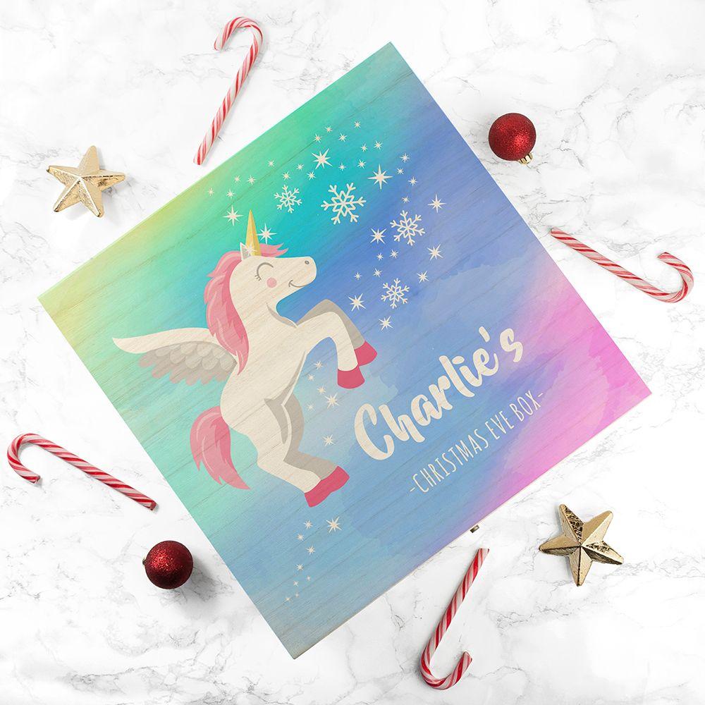 Rainbow Baby Unicorn Personalised Christmas Eve Box