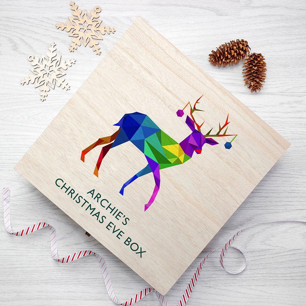 Geometric Reindeer Personalised Christmas Eve Box