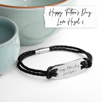 Handwriting Personalised Men's Leather Bracelet