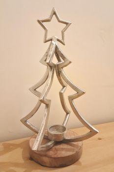 Metal/Wood Mix Christmas Tree Tealight Holder