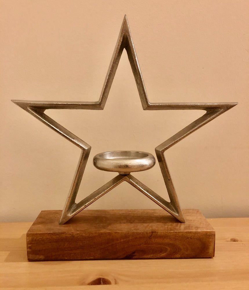 Extra Large Star Wood/Metal Mix Tea Light Holder