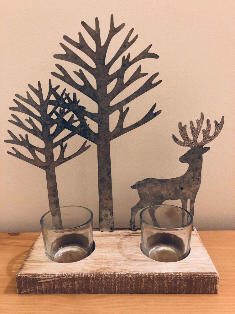 Deer & Woodland Tree Tea Light Holder