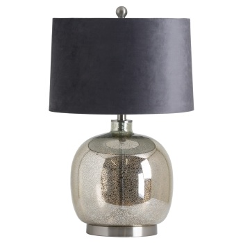 Mirrored Glass Round Table Lamp